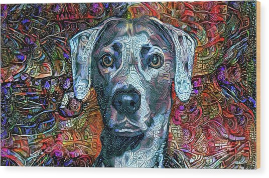 Cash The Blue Lacy Dog Wood Print
