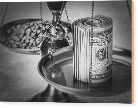 Cash Versus Gold Wood Print