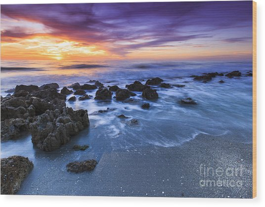 Casperson Beach Sunset 2 Wood Print
