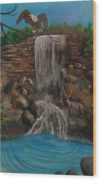 Casscading Waterfall Wood Print