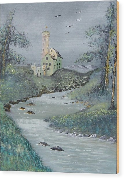 Castle By Stream Wood Print