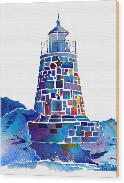 Castle Hill Newport Lighthouse Wood Print