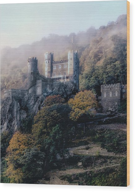 Castle In The Mist Wood Print