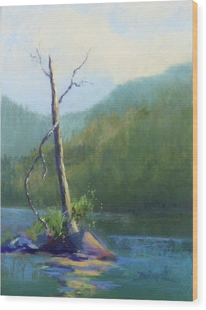 Castle Lake Snag Wood Print