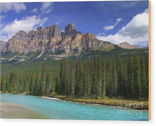 Castle Mountain Banff The Canadian Rockies Wood Print