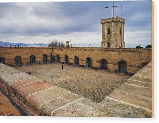 Castle Of Montjuic Barcelona Wood Print