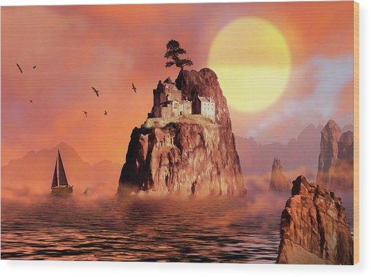 Castle On Seastack Wood Print