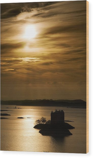 Castle Stalker At Sunset, Loch Laich Wood Print