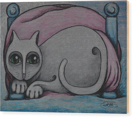 Cat  2001 Wood Print by S A C H A -  Circulism Technique