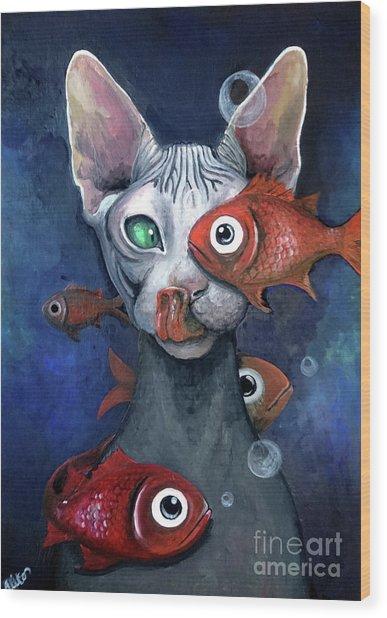 Cat And Fish Wood Print