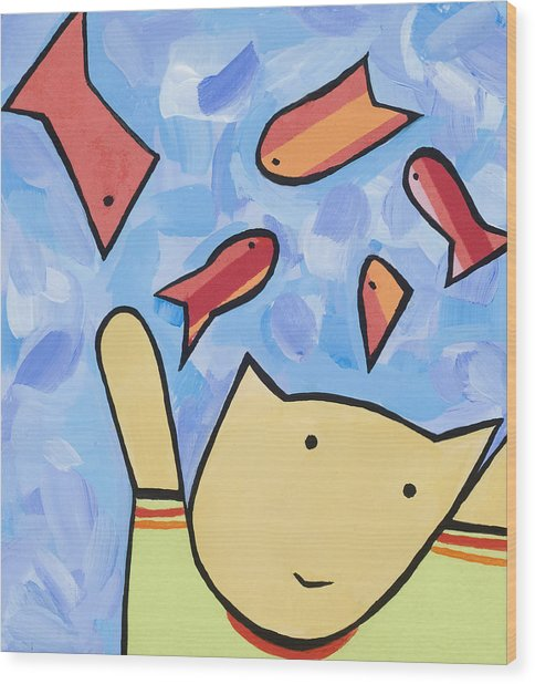 Cat And Fish Wood Print by Michelle  Eggan