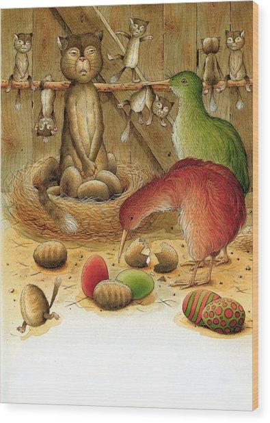 Cat And Kiwis Wood Print by Kestutis Kasparavicius