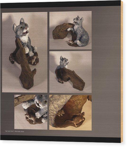 Cat And Mice Alternate Views Wood Print