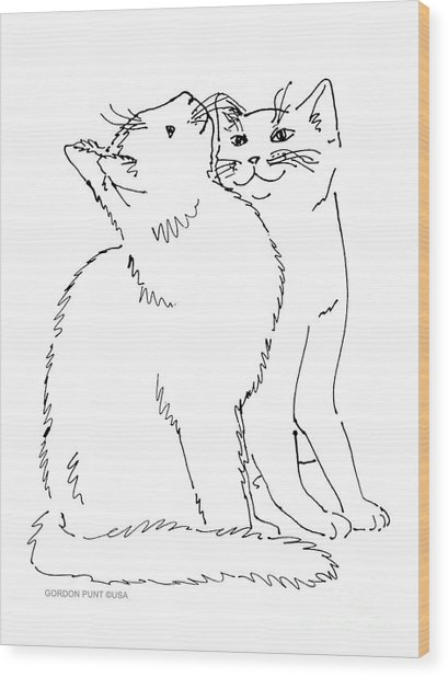 Cat-art-curious Wood Print