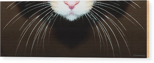 Cat Art - Super Whiskers Wood Print