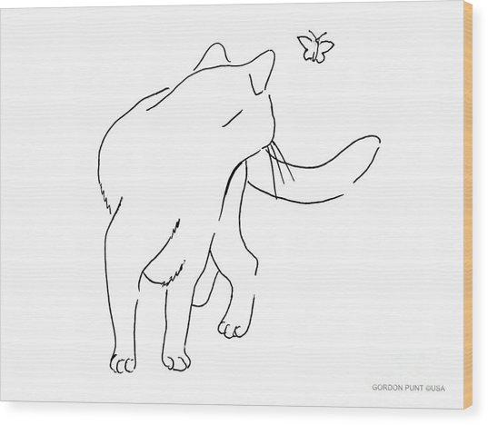 Cat-drawings-black-white-2 Wood Print