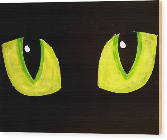 Cat Eyes Wood Print by Teo Alfonso