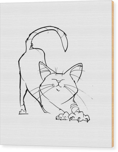 Cat Gesture Sketch Wood Print