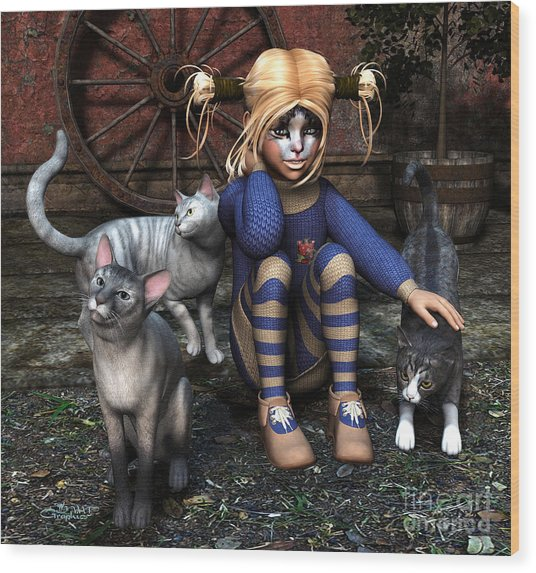 Cat Girl Wood Print