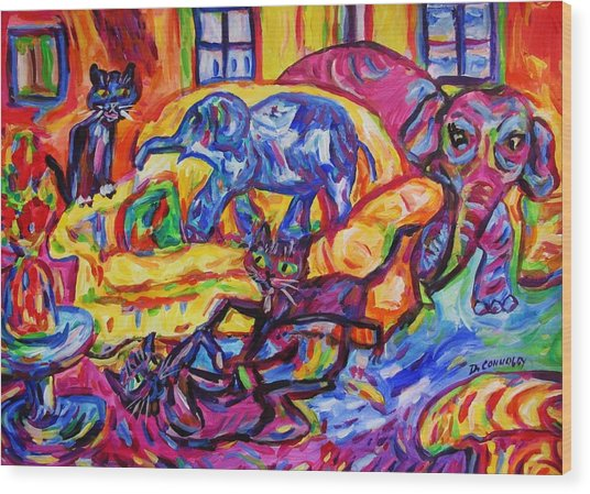 Cat Gymnastics With Elephant In The Room Wood Print