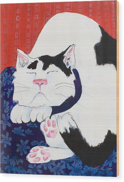 Cat I - Asleep Wood Print