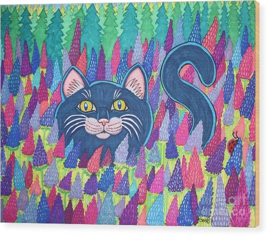 Cat In Field Of Flowers Wood Print