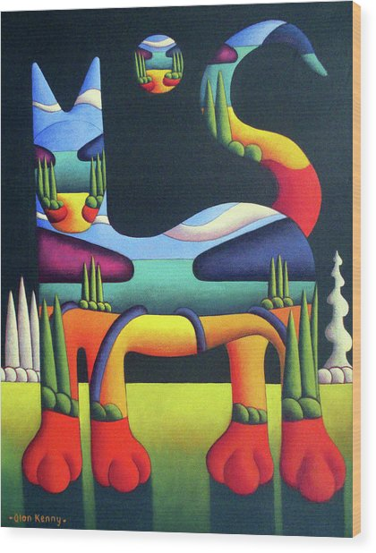 Cat In Landscape In Cat With White Trees  Wood Print by Alan Kenny