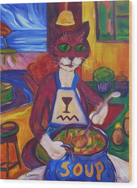 Cat In The Kitchen Making Soup Wood Print