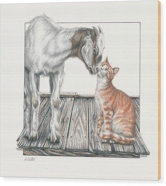 Cat Kiss Wood Print