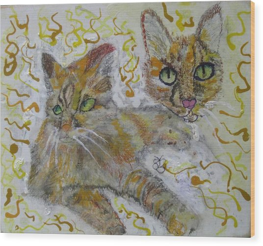 Wood Print featuring the painting Cat Named Phoenicia by AJ Brown