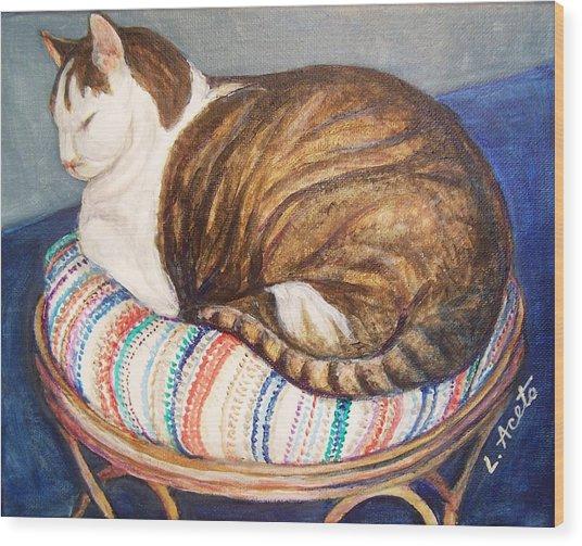 Cat Nap Wood Print