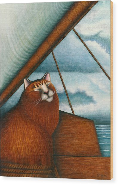Cat On Sailboat Wood Print by Carol Wilson