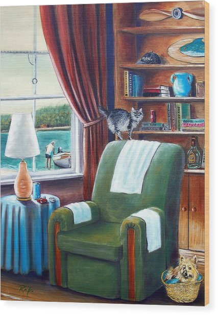 Cat On The Chair, Dog In The Basket Wood Print
