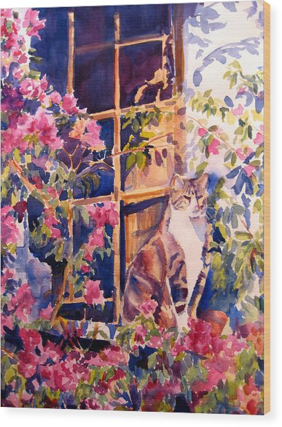 Cat On The Sill In Trapani Wood Print by Joyce Kanyuk