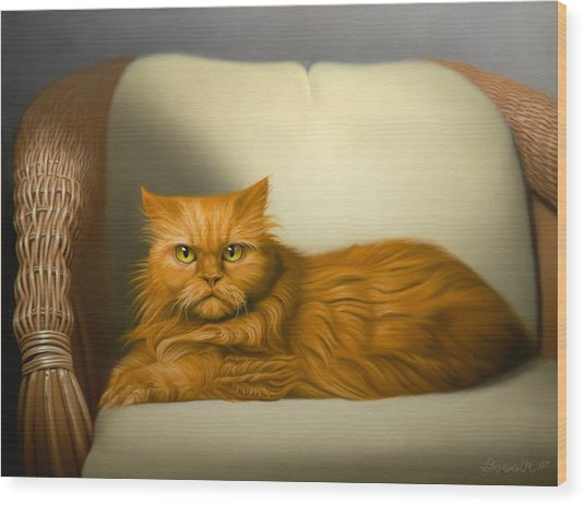 Cat Portrait Of Tosca Wood Print by Eric Bossik