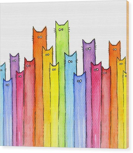 Cat Rainbow Watercolor Pattern Wood Print