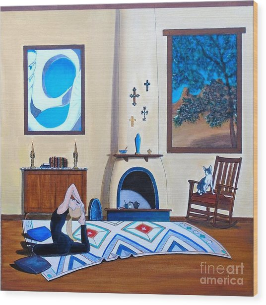 Cat Sitting In Chair Watching Woman Doing Yoga Wood Print