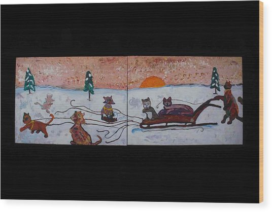 Cat Sled Team Wood Print