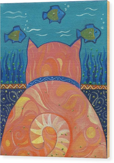 Cat Tales Wood Print