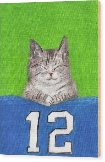 Cat With 12th Flag Wood Print
