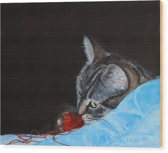 Cat With Red Yarn Wood Print