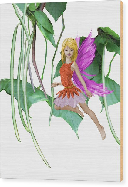 Catalpa Tree Fairy Among The Seed Pods Wood Print