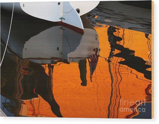 Catboat Reflection Wood Print