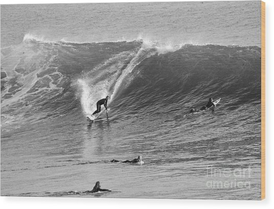 Catch A Wave Bw Wood Print