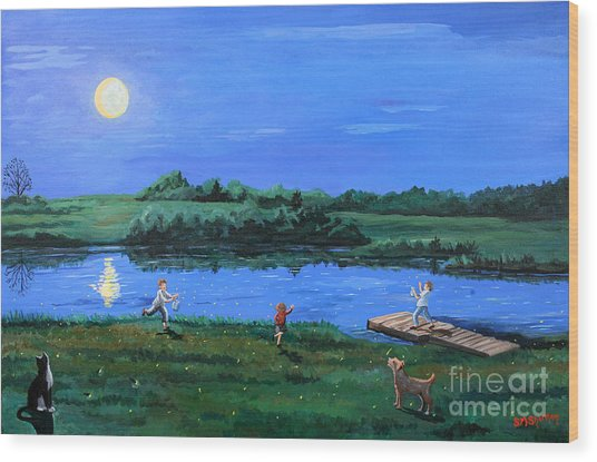 Catching Fireflies By Moonlight Wood Print