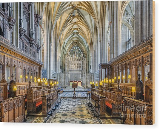 Cathedral Aisle Wood Print