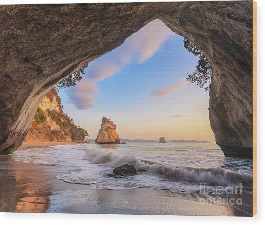 Cathedral Cove At Dawn Wood Print