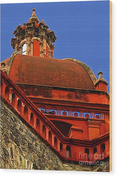 Cathedral Dome With Blue Wood Print by Mexicolors Art Photography