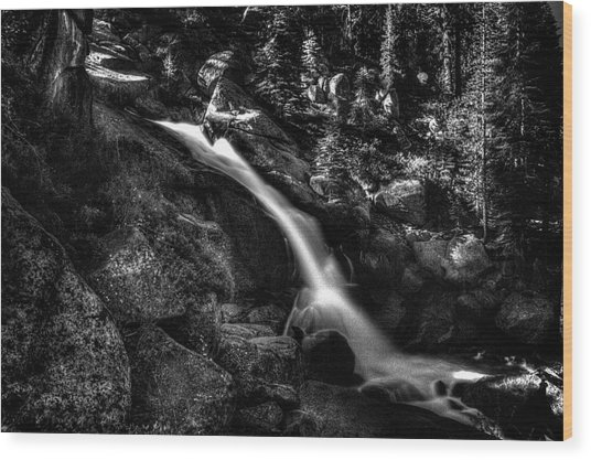 Cathedral Falls From The Tioga Pass Road Wood Print