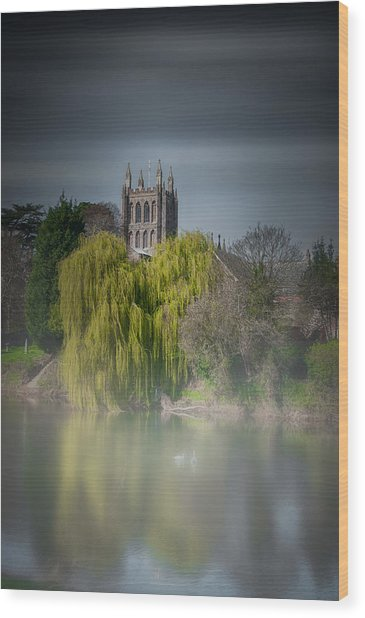Cathedral In The Mist Wood Print